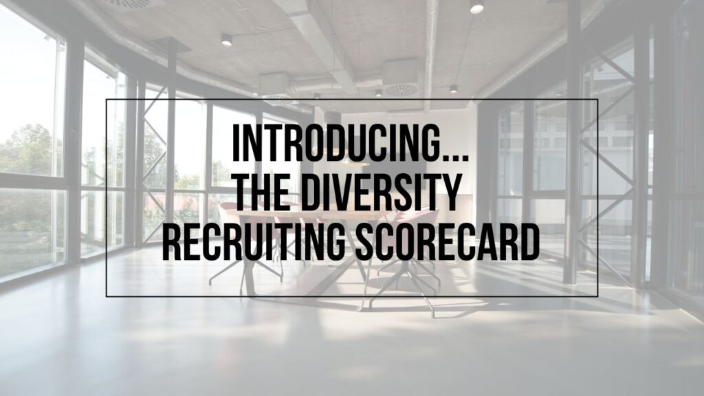 Empty conference room image with Introducing...The Diversity Recruiting Scorecard written on top