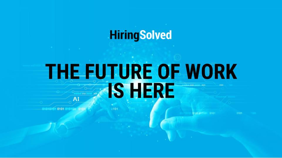"""Robot and human hand touch with the text """"The future of work is here"""" on top to symbolize automation"""