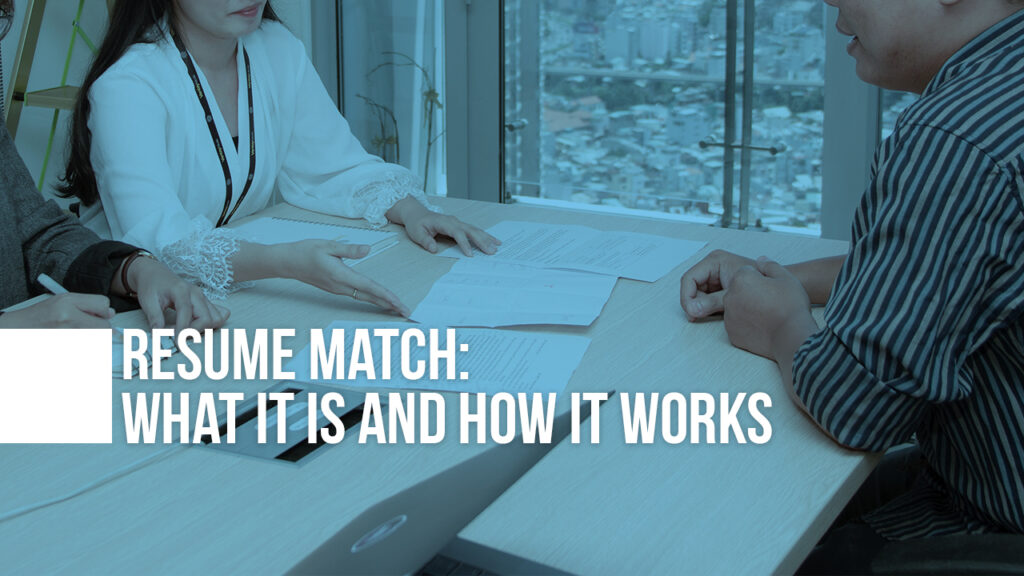 "Image of people at table with papers strewn about with the text ""Resume Match: What It Is and How It Works"" on top"
