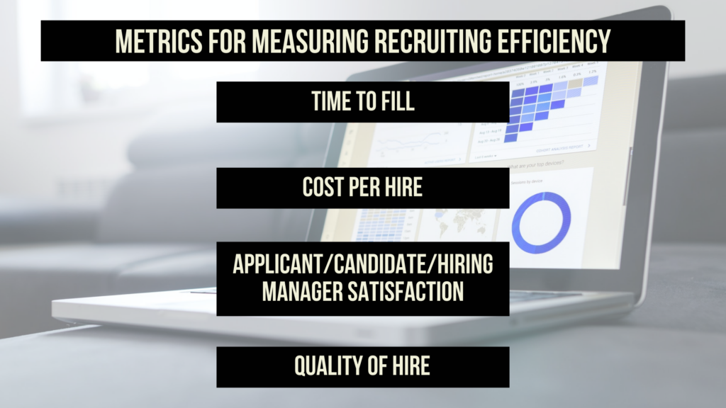 "Image of computer with data on screen and text overlay reading: ""Metrics for measuring recruiting efficiency: Time to fill, cost per hire, applicant/candidate/hiring manager satisfaction, quality of hire"""
